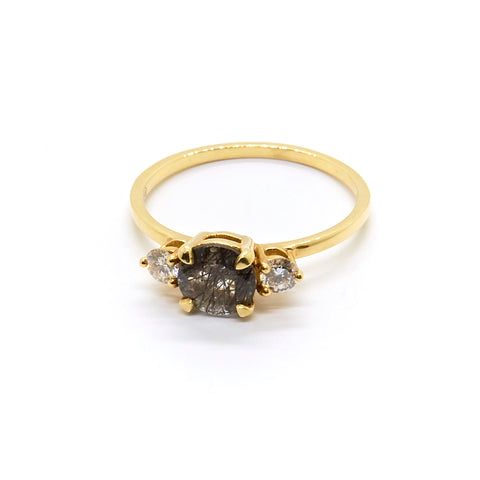 Petite Precious Trio Ring | Tourmalinated Quartz & Diamonds