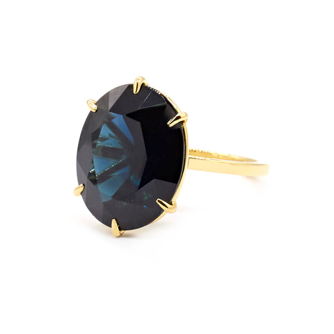 Signature Solitaire | 7.36ct Oval Blue Sapphire