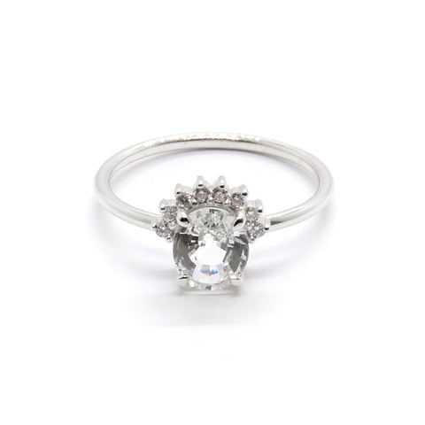White Sapphire and Diamond Crown Ring