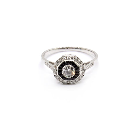 Ada | Vintage Diamond and Onyx Art Deco Style Ring