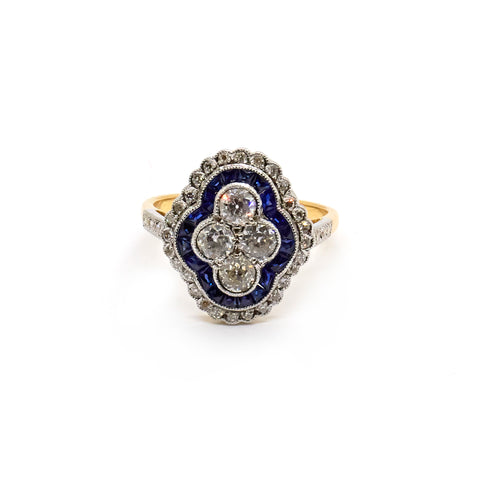 Martha | Vintage Old European Cut Diamonds and Sapphires Ring