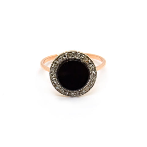 Hedy | Vintage Art Deco Onyx and Diamond Ring