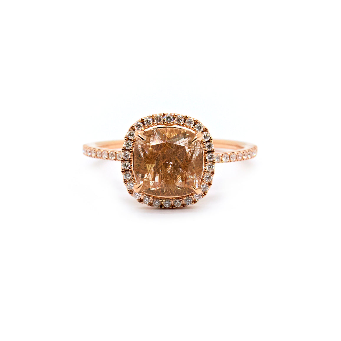 Cushion Cut Halo Ring | Rutilated Quartz