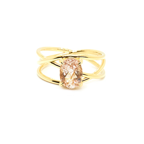 Petite Crossover Ring | Rutilated Quartz