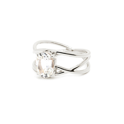Petite Crossover Ring | White Sapphire