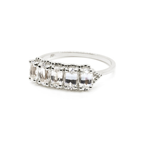 Dotted Oval Stone Wrap Ring | White Sapphire