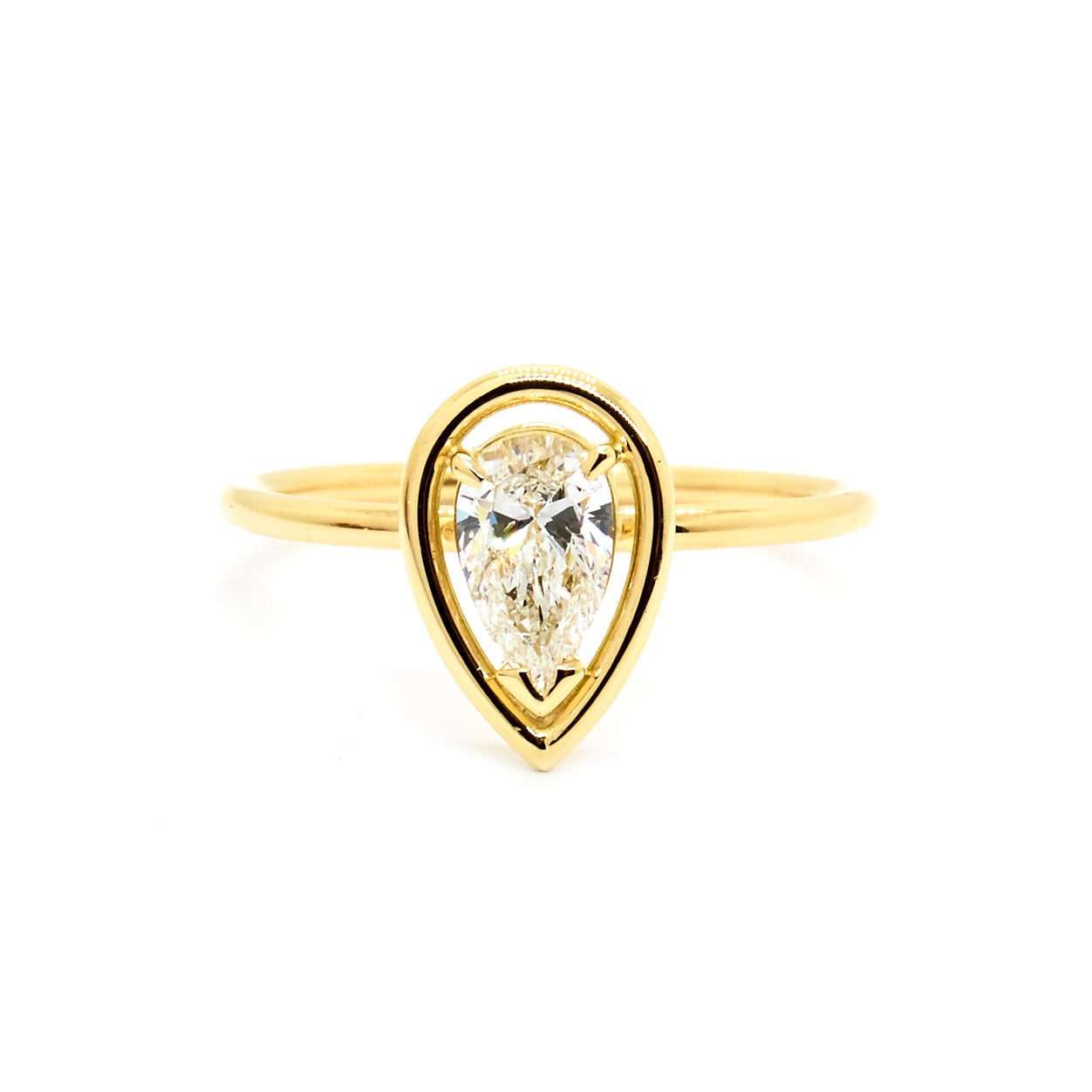 Pear Solitaire with Smooth Halo | 0.45ct Diamond