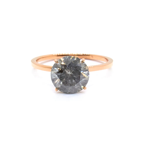 Signature Solitaire | 8mm Salt & Pepper Diamond