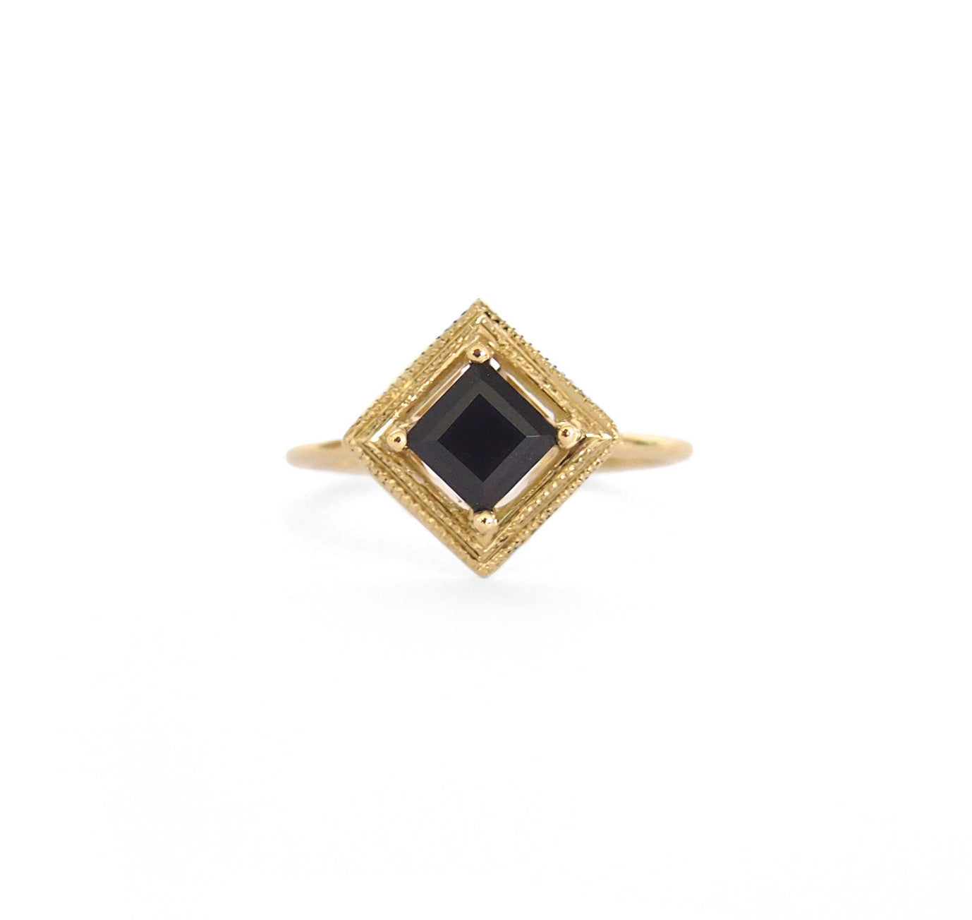 Millgrain Single Quadrant Ring with Black Spinel