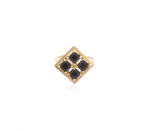 Millgrain Quadrant Ring with Black Spinel