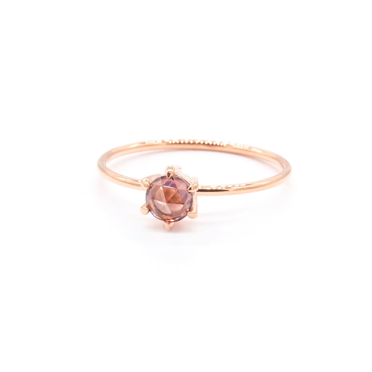 Tiny Rose Cut Ring | Peach Zircon