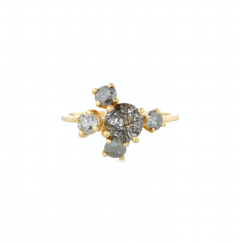 Precious Cluster Ring with Salt and Pepper Diamonds and Tourmalinated Quartz