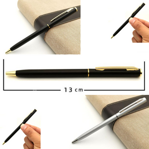 6 Ultra Thin Medium Ball Point Black Silver Writing Business Stationery Pen NEW - BrandsByG