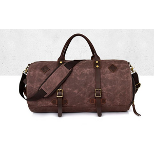 Water Resistant Large Overnight Travel Canvas Crazy Horse Leather Duffle Bag NEW - BrandsByG