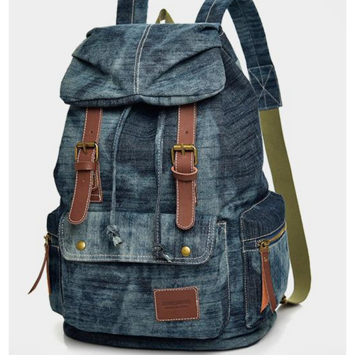 Large Blue Canvas Denim Designer Satchel Backpack Bags Retro Vintage Travel Bag - BrandsByG