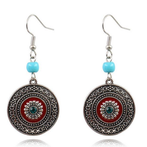 NEW Alloy Retro Round Turquoise Rhinestone Designer Fashion Jewellery Earrings - BrandsByG