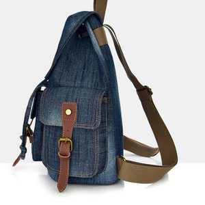 New Blue Canvas Denim Designer Satchel Backpack Bags Retro Vintage Travel Bag - BrandsByG