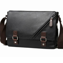 Load image into Gallery viewer, NEW Men Women Black Leather Messenger iPad Satchel Cross Body Shoulder Strap Bag - BrandsByG