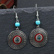 Load image into Gallery viewer, NEW Alloy Retro Round Turquoise Rhinestone Designer Fashion Jewellery Earrings - BrandsByG
