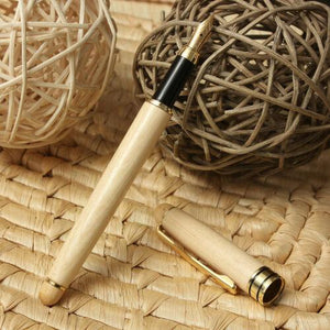 Calligraphy Fountain Pen with Refillable bladder in Maple wood finish Black Ink - BrandsByG
