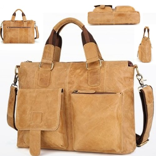 Genuine Cowhide Leather Shoulder Messenger Bag Vintage Military Travel Satchel - BrandsByG