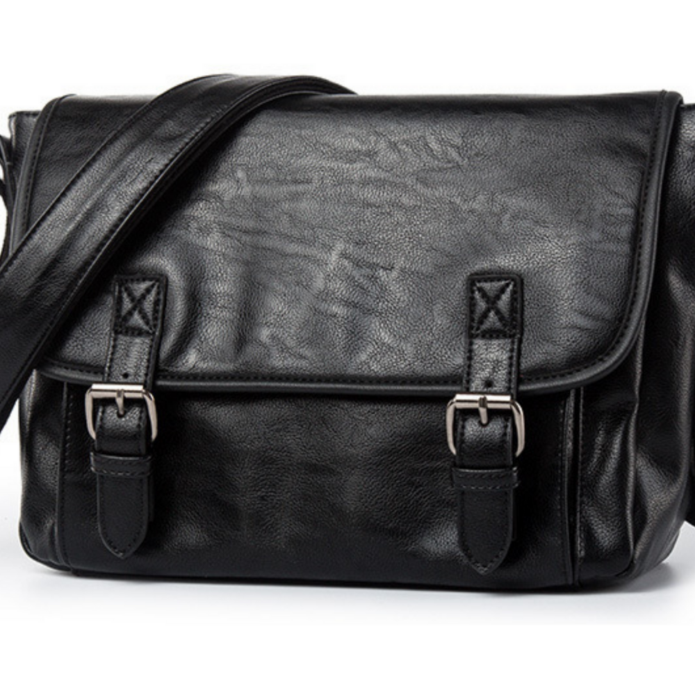 Retro Men Black Leather Shoulder Messenger Bag Satchel Cross Body Travel Handbag - BrandsByG