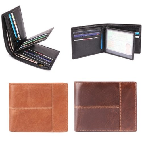Men's Top Grain Leather RFID Wallet Black Brown Photo Card Coin Holder Wallets - BrandsByG