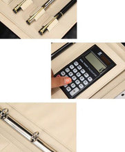 Cargar imagen en el visor de la galería, Men women Pen Calculator Cards Leather Writing Work Business A4 Compendium NEW - BrandsByG