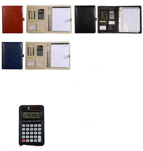 Load image into Gallery viewer, Men women Pen Calculator Cards Leather Writing Work Business A4 Compendium NEW - BrandsByG