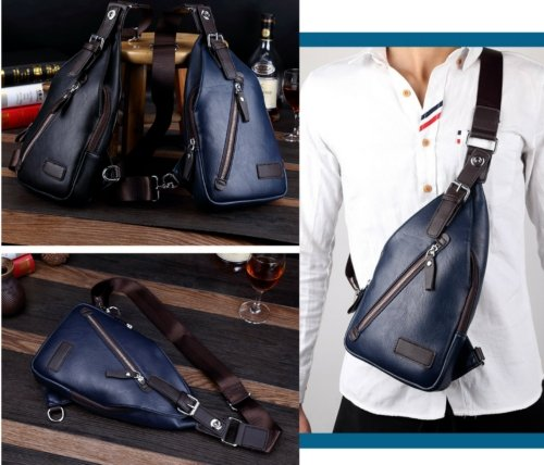 Mens Leather Messenger Shoulder School Bag Vintage Military Travel Satchel Bag - BrandsByG