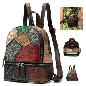 Multi Colour Genuine Italian Leather Shoulder Backpack Handbag Satchel Bag - BrandsByG