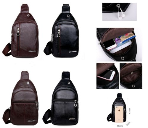 New Men's Women Leather Bag Cross Body Shoulder Hiking Sling Chest Backpack Bag - BrandsByG