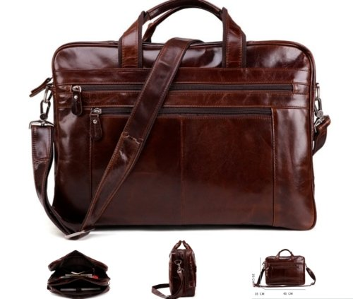 New Vintage Retro Style Genuine Leather Mens Briefcase 15