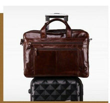"Load image into Gallery viewer, New Vintage Retro Style Genuine Leather Mens Briefcase 15"" Laptop Messenger Bag - BrandsByG"
