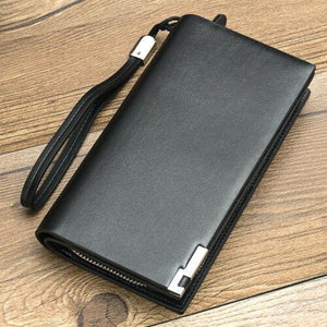 NEW Women Men Black Leather Clutch Coin Bag Card ID Phone Holder Wallet Purse - BrandsByG