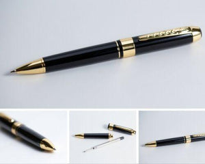 Parker Style Refillable Quality Ball Point Pen Stainless Steel Silver & Black - BrandsByG