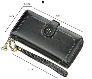 Women New Black Ladies Leather Phone Wallet Clutch Purse Card Cash Coin Holder - BrandsByG