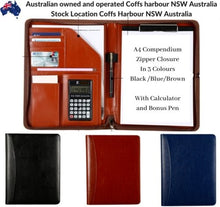 Load image into Gallery viewer, Work School Business Leather A4 Zipper Writing Compendium Pen Calculator Cards - BrandsByG