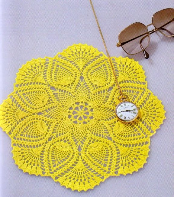Pineapple round doily crochet pattern