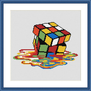 Rubik's Cube cross stitch pattern