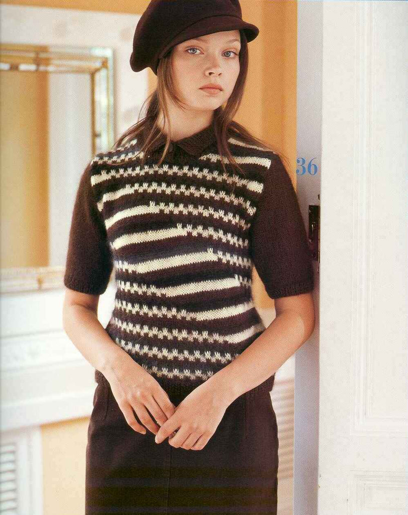 Sweater with short sleeves and abstract stripes knitting pattern - JPCrochet