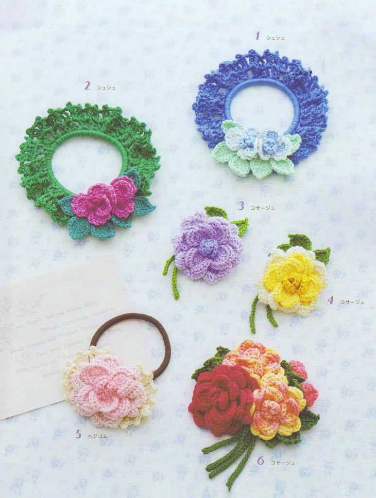 Cute floral crochet hair accessories for girls