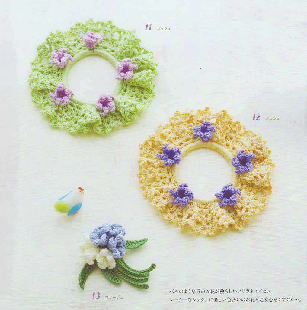 Crochet floral hair accessories
