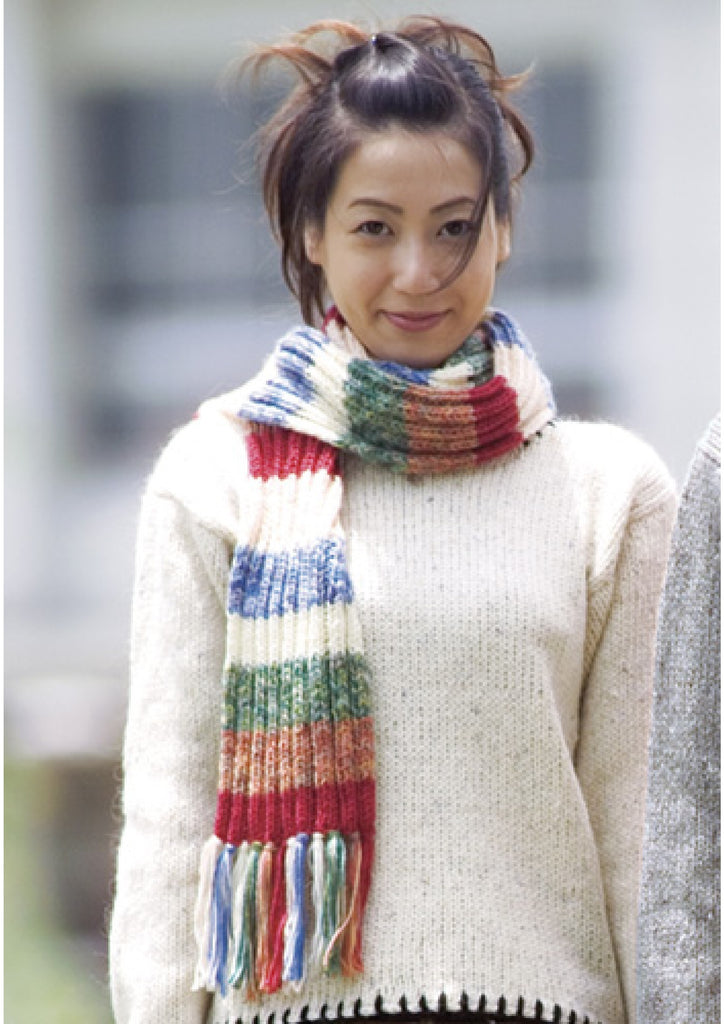 Ladies jumper knitting pattern and striped scarf