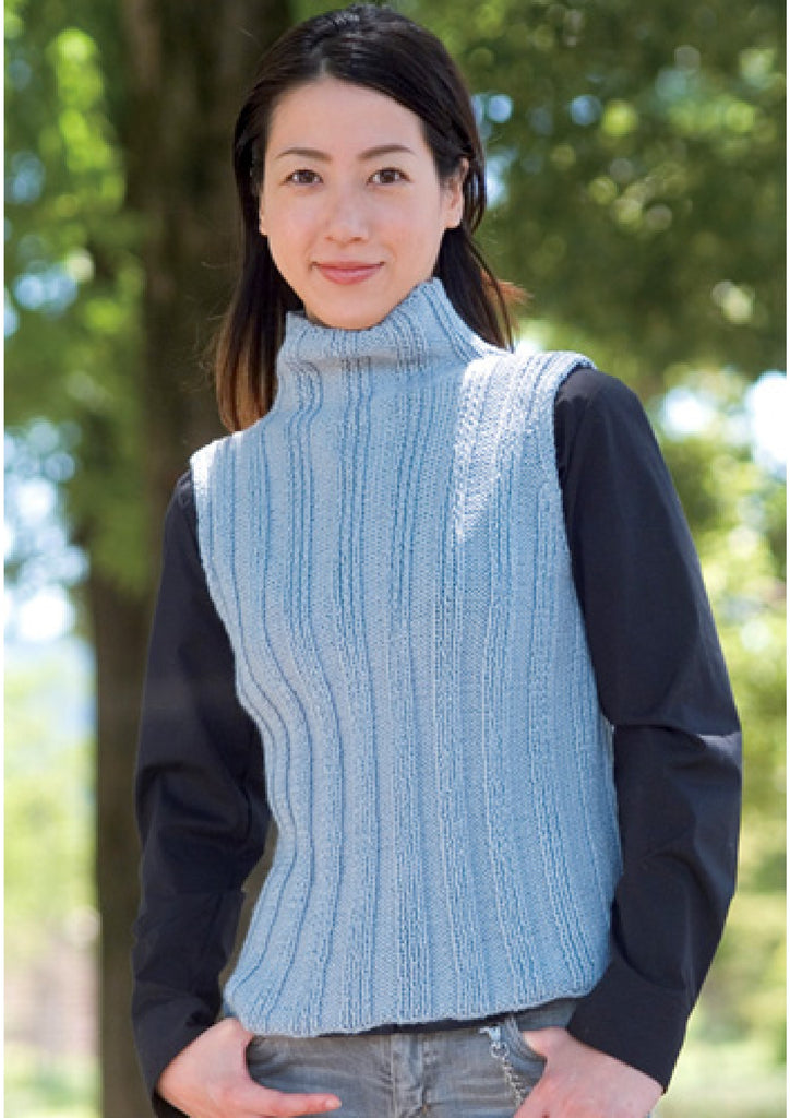 Blue vest simple knitting pattern - JPCrochet