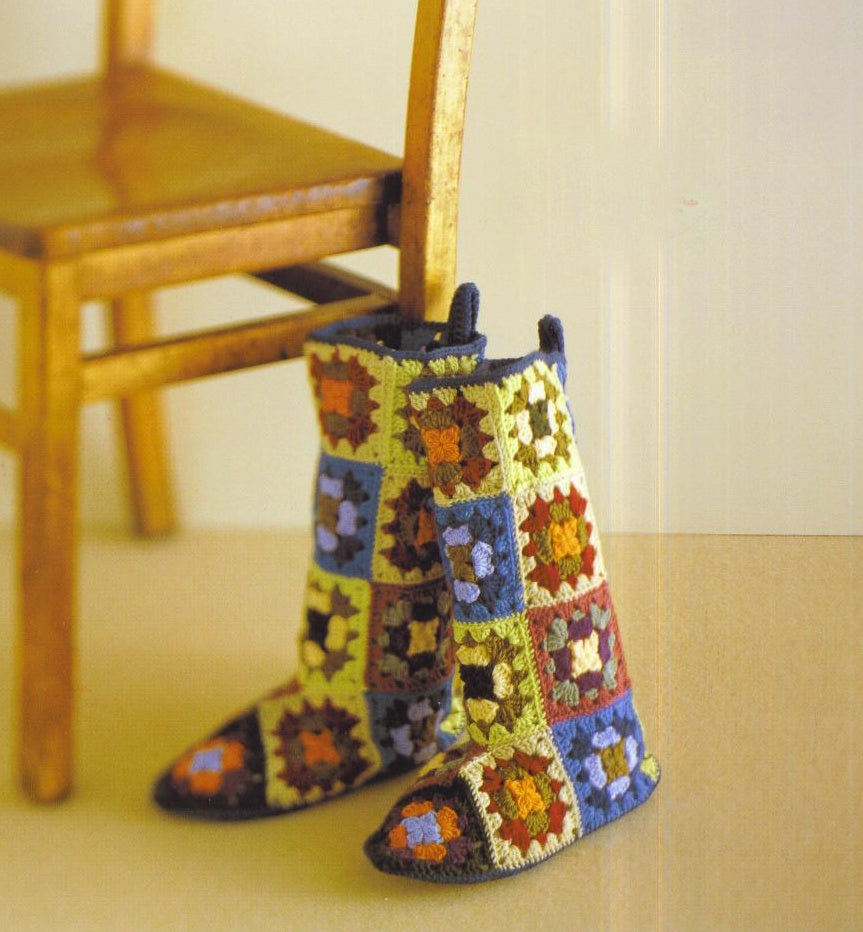 Granny square motif colorful crochet home shoes - JPCrochet