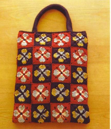 Crochet square motifs colorful shopping bag - JPCrochet