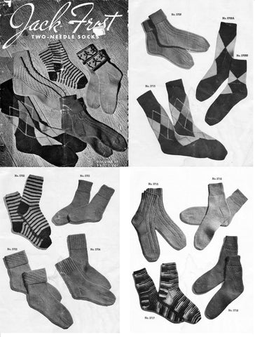 Two needle knitted socks pattern 22 designs