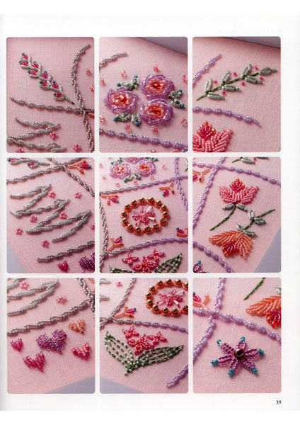 Different embroidery with beads stitches