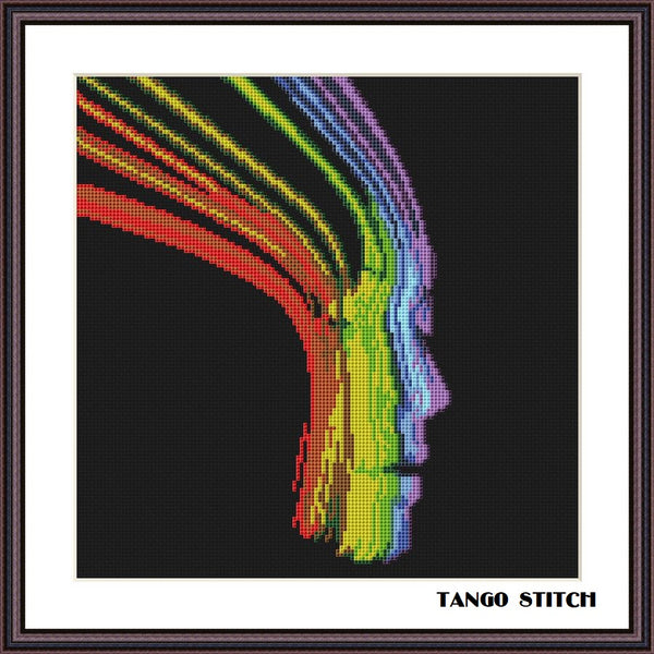 Abstract woman face colorful cross stitch pattern - Tango Stitch
